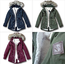 NWT Hollister by Abercrombie&Fitch Heritage Sherpa Lined Parka Fur Jacket Coat
