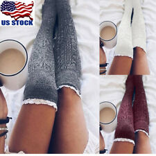 Sexy Women's Warm Cotton Thigh High Stockings Knit Over Knee Lace Long Socks USA