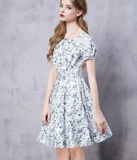 Women Summer New Vintage Printed O-neck Short Sleeve Mini Dress C479