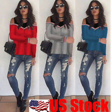 Korean Style Womens Long Sleeve False Two Pieces T Shirt Pollover Tops Blouse US