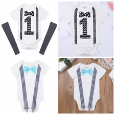 Infant Baby Boys Romper Bodysuit Bowtie One Year Birthday Cotton Outfit Jumpsuit