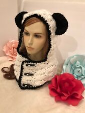 Hand Crochet Panda Hooded Cowl / Scarf / Neck Warmer -  Made to Order NEW!