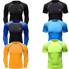 Mens Compression Tops Running Basketball Athletic Base Layers Training T-shirts