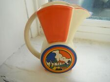 "CLARICE CLIFF  ""HUNTLEY COTTAGE""  WATER JUG  by MOORLAND POTTERY"
