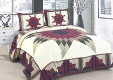 Quilt Set King Queen Cabin Star Traditional Patchwork Reversible 3 Piece Bars