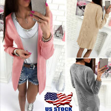 US Womens Cardigan Sweater Long Sleeve Knitted Outwear Jacket Coat Casual Blouse