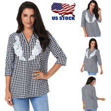 Plus Size Women V-neck Striped Plaid Tops Loose 3/4 Sleeve T-shirt Blouse Tee US