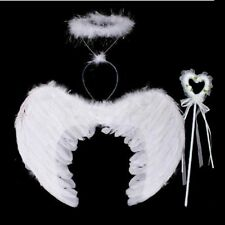 US Adult Kids Feather Fairy Angel Wings Halo Dress Party Cosplay Costume Outfits
