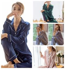 Women's Lightweight Satin Pajamas Sleepwear Long and Short Button-Down PJ Set