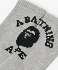 A Bathing Ape Bape Head Cotton College Socks Gray & White One Size Fits Most