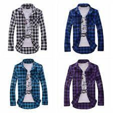 Mens Shirts Collar Long Sleeve Button Front Slim Fit Tops Formal Tee T-Shirts