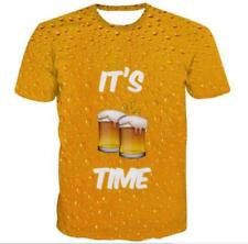Womens/Mens Drink Beer Time Funny 3D Print Casual T-Shirt Short Sleeve Tops Tee