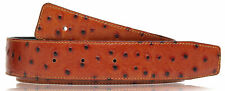 Ostrich Cognac Brown Black H Belt Reversible Leather Strap without Buckle 32mm