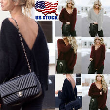 Womens Deep V Neck Backless Sweater T Shirt Pullover Blouse Jumper Party Tops US