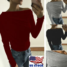 Womens Long Sleeve Off Shoulder Crop Tops Ladies Sexy Pullover T-shirt Blouse US