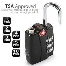 TSA Resettable 3 Digit Lock Travel Luggage Suitcase Code Padlock Aluminum Body