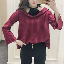 Women's Korean Fashion V Neck Loose Casual Blouse Plaid Stitching Shirt Top New