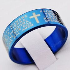 Religious Jewelry Top 316L Stainless Steel Cross Scripture Women Mens Blue Ring