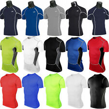 Mens Compression Base Layer Tops Tight Sports Fitness GYM Under Skins T-Shirts