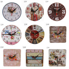 Wooden Wall Table Clock Modern Design Vintage Rustic Shabby Chic Home Decoration