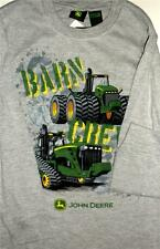 "New Boys Size 7 John Deere T-Shirt  ""Barn Crew""  Gray with Green Tractor Shirt"
