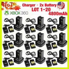Dual Battery Charger Station Dock+2x Battery For Xbox 360 Controller LOT US BP
