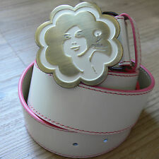 Chupa Chups faux Leather 1970's style white belt