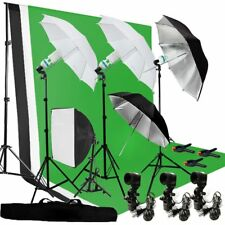 Photography Umbrella Lighting Kit Studio Bulb Muslin Backdrop Support Stand BP