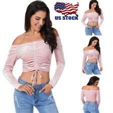 Womens Sexy Off Shoulder Long Sleeve Lace Up Crop Tops Velvet Blouse T Shirt USA
