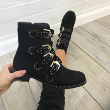 Codi Black Suede Studded Rock Buckle Ankle Chelsea Boots