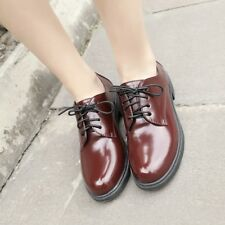 British Retro Women Formal Wing Tip Low Block Heels Oxfords Lace Up Carved Shoes
