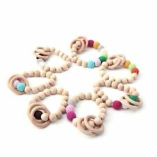 Teething Round Wood Bracelet Baby Newborn Kids Wooden Teether Toy