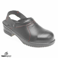 Toesavers 6008 SB Black Leather Slip On Steel Toe Cap Safety Clogs Work Shoes