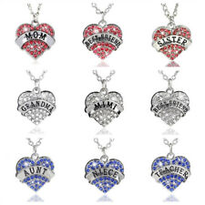 Family Gifts Crystal Pink Heart Pendant Rhinestone Necklace Chain Charm Jewelry