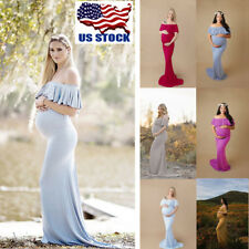 Pregnant Womens Off Shoulder Ruffle Long Maxi Maternity Dress Bodycon Dresses US