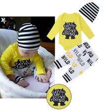 Infant Baby Outfit Boys Girls Long Sleeves Romper+Pants +Hat Letter Printed Tops