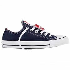 Converse Chuck Taylor All Star Double Tongue Ox Navy White Womens Trainers