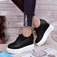 Fashion Womens Casual High Wedge Heels Lace Up Pumps Shoes Platform Hot