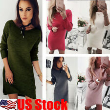 USA Womens Slim Knit Long Sleeve Dress Casual Party Short Mini T Shirt Top Dress