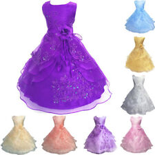 Kids Flower Pearls Floral Formal Dress Ball Gown For Girls Wedding Bridesmaid
