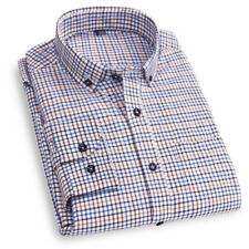 Mens Long Sleeve Shirt Dress Casual Button Down Checkered Plaid Dress Shirts