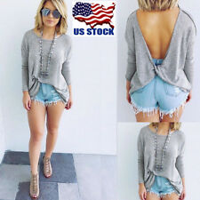 Women Long Sleeve Sexy Backless Blouse Casual Loose Bat T-shirt Pullover Tops US