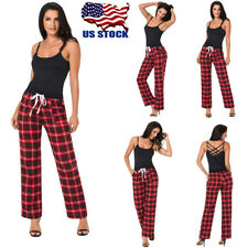 Womens High Waist Check Plaid Drawstring Casual Pants Wide Leg Long Trousers USA