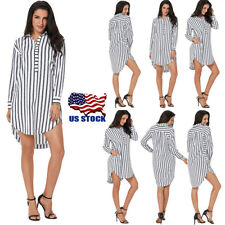 Women Long Sleeve Stripe Pocket Shirt Dress Ladies T-shirt Blouse Mini Dress USA