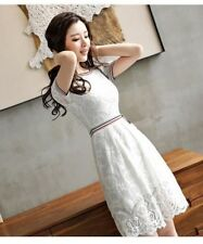 Women New Arrival Summer Wear Solid Color Floral Lace Short Sleeves Dress