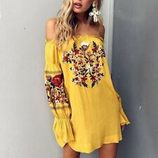 Sexy Off Shoulder Embroidery Floral Ruffle Dress Women Summer Beach Boho Dress