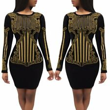 Fashion Women Long Sleeve Black Bodycon Casual Party Evening Cocktail Mini Dress