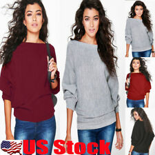 Womens Long Sleeve Loose Batwing Knitted Sweater Jumper Cardigan Outwear Coat US