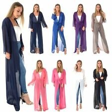 WOMENS LADIES CHIFFON SHEER MESH BELTED MAXI LONG CARDIGAN KIMONO PLUS SIZE 8-24
