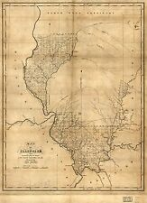 Poster Print Antique American Cities Towns States Map Illinois
